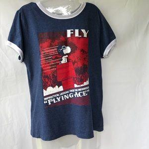 "Snoopy ""flying Ace"" Blue short sleeve shirt XL"